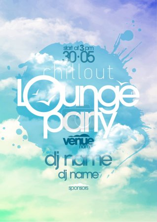 Illustration for Chillout lounge party poster with cloudy sky backdrop. - Royalty Free Image