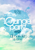 Chillout lounge party poster with cloudy sky backdrop