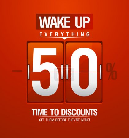 Wake up -50 percents sale design for coupon.