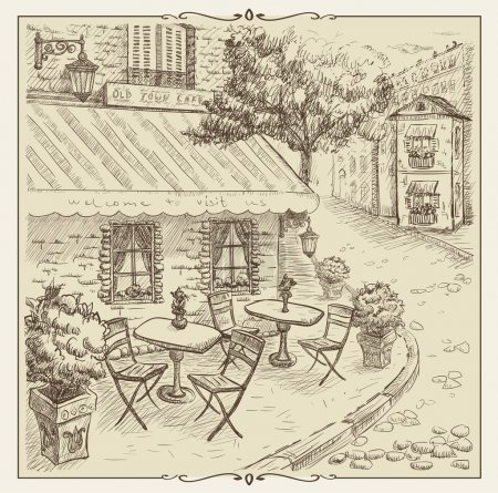 Hand drawn illustration, street cafe in old town.