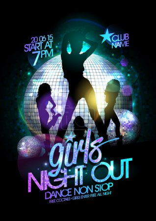 Girls night out party poster with dancing girls.