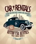 1930th - 1970th retro car rentals design