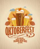 Oktoberfest poster with beer on a wooden backdrop
