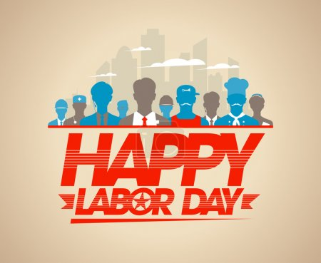 Happy labor day card with workers.