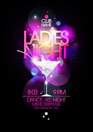 Illustration for Ladies night party design with martini glass, eps10. - Royalty Free Image
