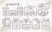 Hand drawn graphic illustration set of canned goods and tags on a paper