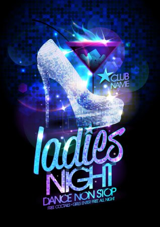 Illustration for Ladies night poster illustration with high heeled diamond crystals shoes and burning cocktail. - Royalty Free Image