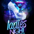Ladies night poster illustration with high heeled ...