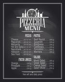 Chalkboard pizzeria menu list