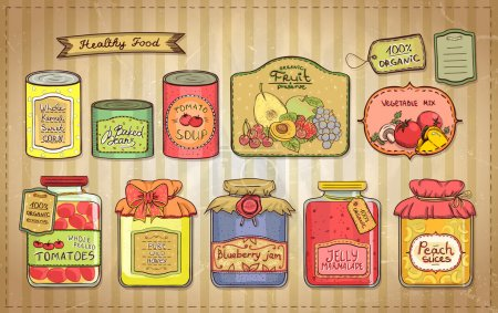 Illustration for Hand drawn vintage style illustration with canned goods set and tags on a paper. Tomato soup, blueberry jam, peach slices, tomatoes, sweet corn, fruit preserve, baked beans, wild honey. - Royalty Free Image