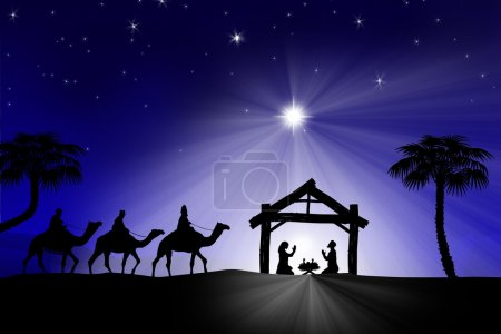 Photo pour Traditionnelle crèche Noël chrétien avec les trois rois mages - image libre de droit