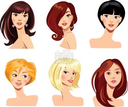 Illustration pour Illustration vectorielle de femmes de visage avec coiffure - image libre de droit