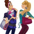Two chattering fashion girls illustration...