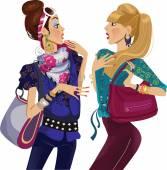"""Постер, картина, фотообои """"две девушки болтающего моды"""""""