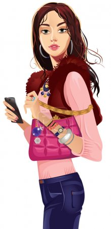 Photo for Fashionable girl in a waistcoat with pink bag - Royalty Free Image
