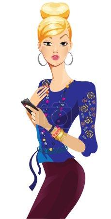 Illustration pour Fille tenant mobile sur fond blanc - image libre de droit