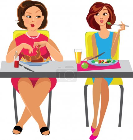Thin and fat woman eating food