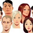 Vector portraits of faces of men and women...