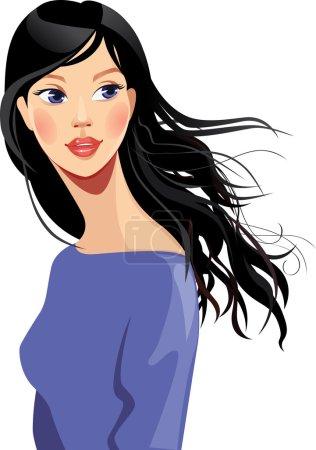 Illustration pour Illustration vectorielle du portrait d'une belle fille aux cheveux longs - image libre de droit