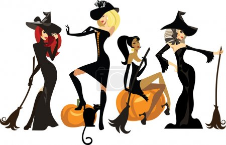 Different witches in dresses and hats with brooms...