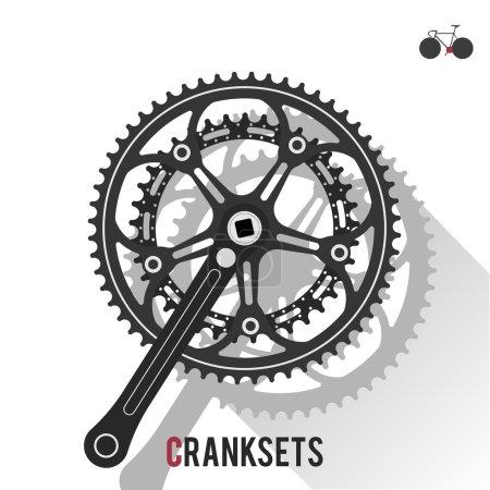 Illustration pour Roue arrière fixe, à vitesse unique ou à vélo de route sur fond blanc avec image clé dans le coin supérieur droit - image libre de droit