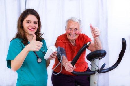 Elderly woman doing sport effort