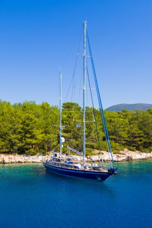 Shored boat in the mediterranean sea