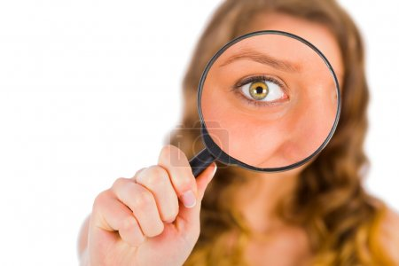 lady holding a magnifying glass