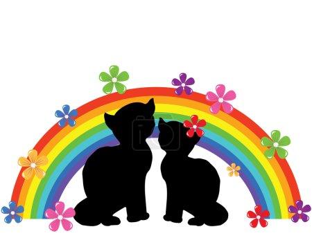 Photo pour Silhouettes de chats vecteurs avec arc-en-ciel et fleurs pour la Saint-Valentin - image libre de droit