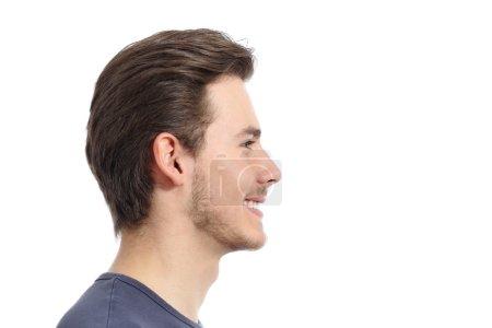 Photo pour Vue de côté d'un portrait du visage bel homme isolé sur fond blanc - image libre de droit