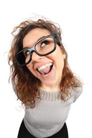 Geek funny girl singing and looking sideways