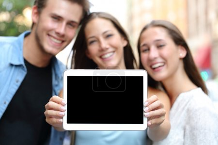Friends showing a blank tablet screen