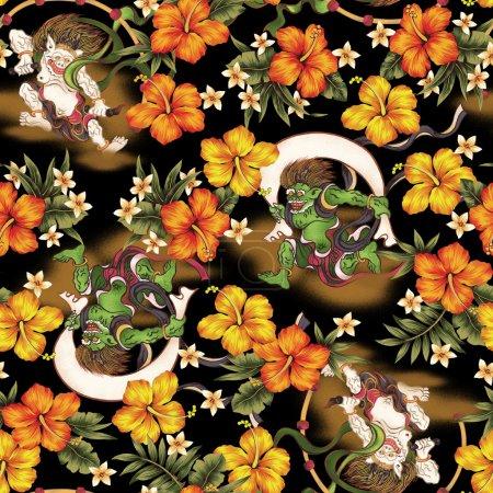 Photo pour J'ai dessiné Hibiscus et orageux Dieu et Dieu du tonnerre que c'est Dieu qui apparaît dans le mythe japonais que je l'ai attiré avec une brosse de rédaction et de la peinture que cette peinture continue à plusieurs reprises - image libre de droit