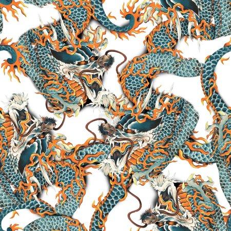 Photo pour J'ai dessiné un dragon dans la technique de tradition japonaise je l'ai dessiné avec un pinceau d'écriture et de peinture - image libre de droit