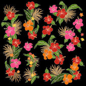 I drew Hibiscus for a design This painting continues repeatedly It is a vector work