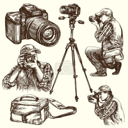 Photographer with camera. Hand drawn illustration.
