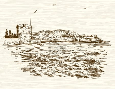 Illustration for Defensive tower in Mediterranean Sea. Hand drawn illustration. - Royalty Free Image