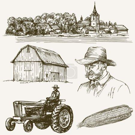 Farm, rural village. Hand drawn collection.