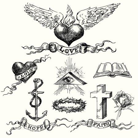 Illustration pour Aime et espère que les icônes - dessinés à la main mis - image libre de droit