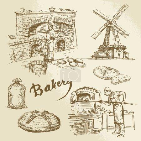 Illustration pour Boulangerie, boulangerie, pain - image libre de droit