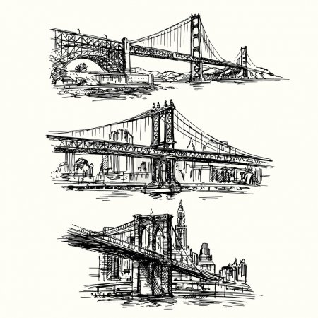 famous bridges - hand drawn set