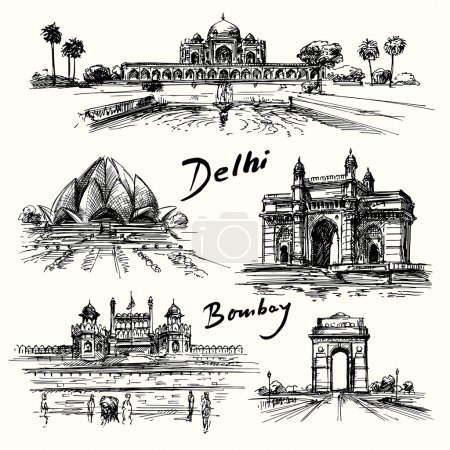 Delhi, Bombay - hand drawn collection...