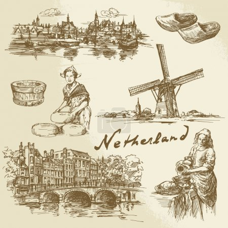 Illustration pour Pays-Bas - ensemble dessiné à la main - image libre de droit