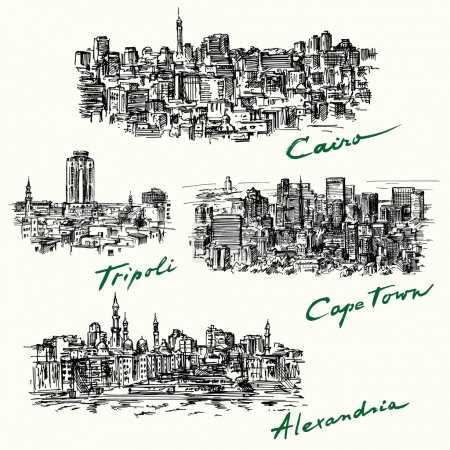 Illustration for Cairo, Tripoli, Cape Town, Alexandria - Royalty Free Image