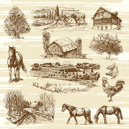 Illustration for Rural landscape and houses - hand drawn collection - Royalty Free Image