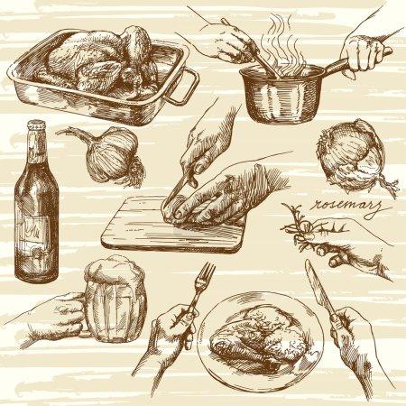 Illustration pour Processus de cuisson. Illustration vectorielle dessinée main . - image libre de droit