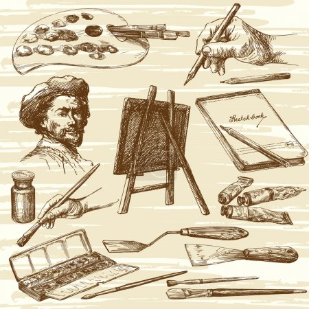 Illustration for Artist equipment - hand drawn collection - Royalty Free Image
