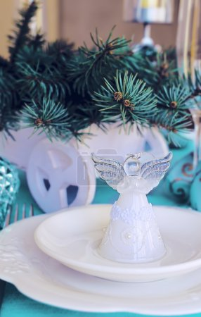 Christmas ans New Year table decoration with Angel