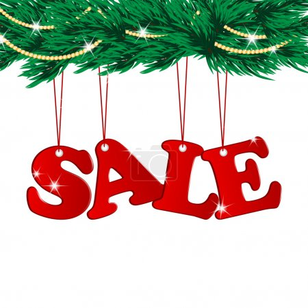 Christmas Sale Tags and Christmas tree with decorations