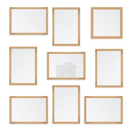 Illustration pour Ensemble de cadres en bois isolés sur fond blanc - image libre de droit
